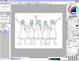 【図】LAST Aice5感想イラスト・えんじ色衣装Ⅱ編(3) 下描きが「レイヤー1」に貼り付けられた状態で、新規キャンバスが作成される。(SAI)