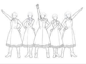 【図】LAST Aice5感想イラスト・えんじ色衣装Ⅱ編(3) 体・服の線画終了(SAI)
