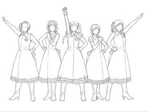 【図】LAST Aice5感想イラスト・えんじ色衣装Ⅱ編(3) 髪の線画終了(SAI)