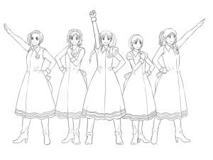 【図】LAST Aice5感想イラスト・えんじ色衣装Ⅱ編(3) 顔の線画終了(SAI)