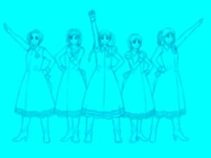 【図】メイキング:LAST Aice5感想イラスト・えんじ色衣装Ⅱ編(9)線画の複製をフィルタ加工した