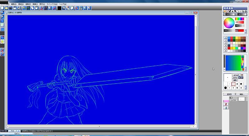 【図】透明色プレーン│Pixiaバージョン5の使い方:線画の色変え方法
